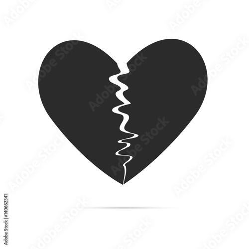 """""""Black broken heart shape vector icon. Simple love symbol ..."""