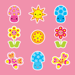 Spring sticker set with cute butterfly, mushroom and flower cartoon suitable for kid sticker set, clip art, and icon
