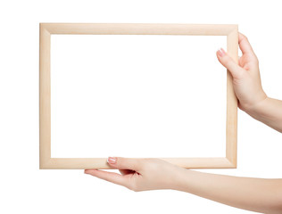 mockup Frame in the woman manicured hands isolated on white background