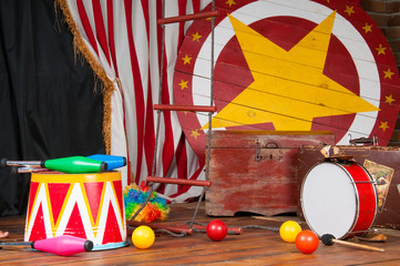 Circus backstage in retro style, drum suitcase. Interior.