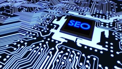 Search engine optimization circuit board closeup web traffic concept