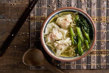 shrimp wonton noodle soup with choy sum