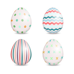 Beautiful set of easter eggs with cute patterns