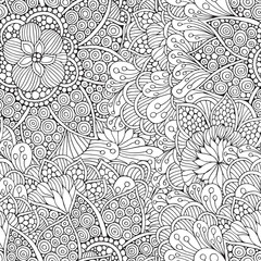 seamless Pattern for adult coloring book.