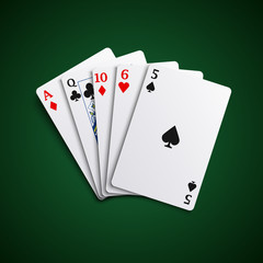 Poker hand high cards combination template
