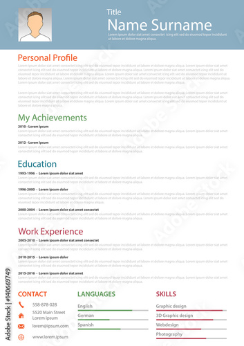 professional resume cv structured template fotolia com の ストック