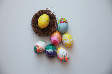 Bright rustic eggs decor