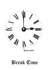 Retro clock face with coarse Roman numerals reference to Break Time