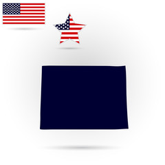 U.S. state of Colorado on the map on a gray background. American flag, star