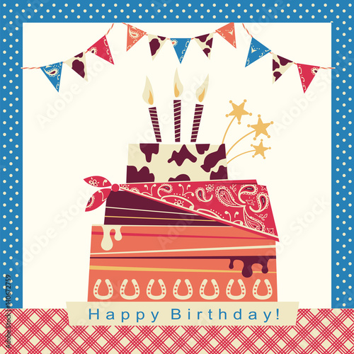 Cowboy Party Card With Happy Birthday Big Cake And Western
