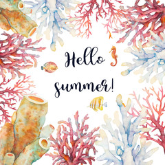 Hello summer. Watercolor coral and fishes illustration. Hand drawn isolated card design with underwater branches on white background.