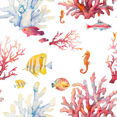 Watercolor coral reef seamless pattern. Hand drawn realistic background design: tropical fishes, corals, sea horse on white background. Natural repeating texture design for paper, fabric, wallpaper