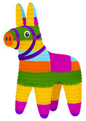 Vector illustration of a colorful, donkey-shaped piñata.