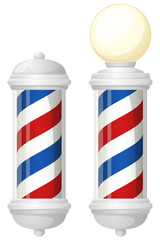 Vector illustration of a red, white and blue striped barber's pole, with and without a round light on top.