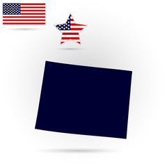 U.S. state on the U.S. map Wyoming on a gray background. American flag, star