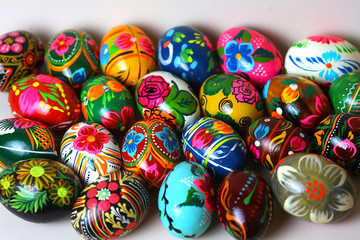 Many Easter eggs, different colors, with different patterns. view from above
