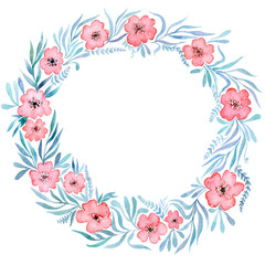 Invitation to the wedding, watercolor wreath of flowers