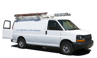 Side and front view of air and heating utility van with ladders. Isolated. Wall mural