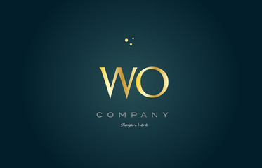 wo w o  gold golden luxury alphabet letter logo icon template
