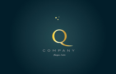 q gold golden luxury alphabet letter logo icon template