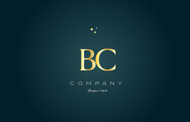 bc b c  gold golden luxury alphabet letter logo icon template