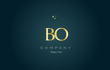 bo b o  gold golden luxury alphabet letter logo icon template
