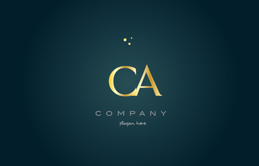 ca c a  gold golden luxury alphabet letter logo icon template