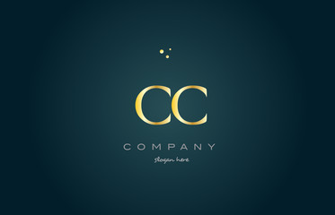 cc c c  gold golden luxury alphabet letter logo icon template