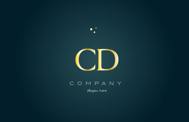 cd c d  gold golden luxury alphabet letter logo icon template