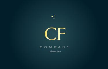 cf c f  gold golden luxury alphabet letter logo icon template