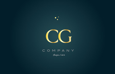 cg c g  gold golden luxury alphabet letter logo icon template