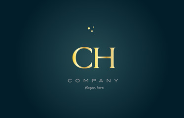 ch c h  gold golden luxury alphabet letter logo icon template