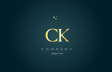 ck c k  gold golden luxury alphabet letter logo icon template