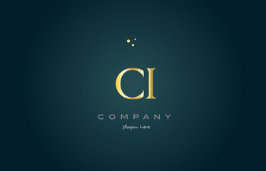 ci c i  gold golden luxury alphabet letter logo icon template