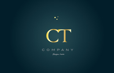 ct c t  gold golden luxury alphabet letter logo icon template
