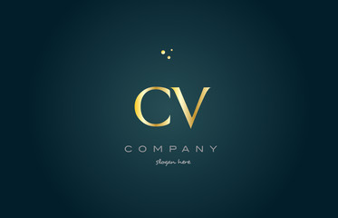 cv c v  gold golden luxury alphabet letter logo icon template