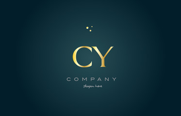 cy c y  gold golden luxury alphabet letter logo icon template