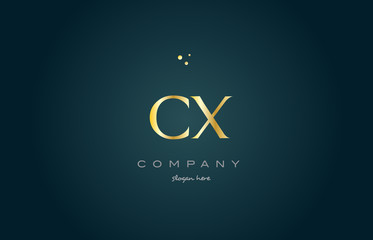 cx c x  gold golden luxury alphabet letter logo icon template