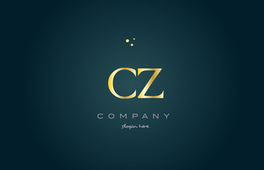 cz c z  gold golden luxury alphabet letter logo icon template