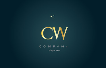 cw c w  gold golden luxury alphabet letter logo icon template