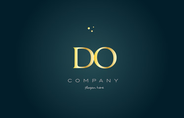do d o  gold golden luxury alphabet letter logo icon template