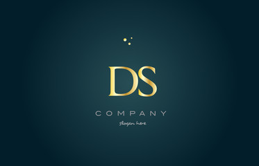 ds d s  gold golden luxury alphabet letter logo icon template