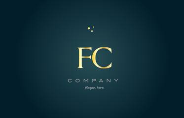 fc f c  gold golden luxury alphabet letter logo icon template