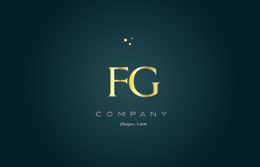 fg f g  gold golden luxury alphabet letter logo icon template