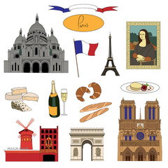 Vector hand-drawn Paris landmarks and food illustration colorful set