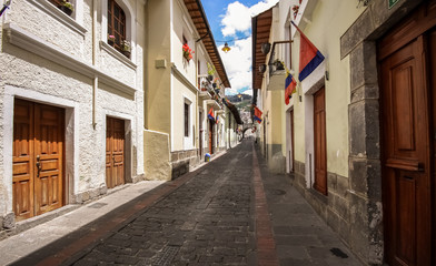 Calle La Ronda, typical colonial street in historic district, Quito, Ecuador