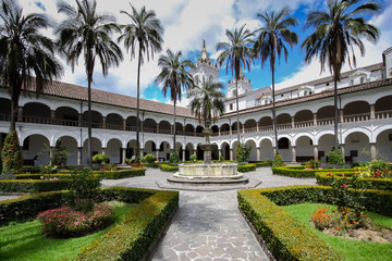Panoramic view of patio Convento de San Francisco, Quito, Ecuador