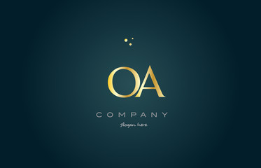 oa o a  gold golden luxury alphabet letter logo icon template