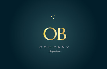 ob o b  gold golden luxury alphabet letter logo icon template