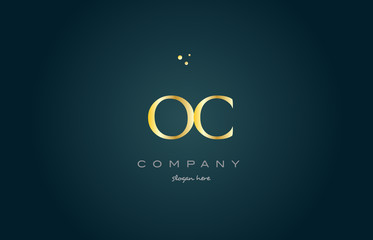 oc o c  gold golden luxury alphabet letter logo icon template